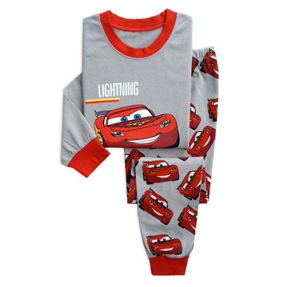 Boys PJ Set Cars lightning mcqueen Pattern 100% Cotton Pajamas