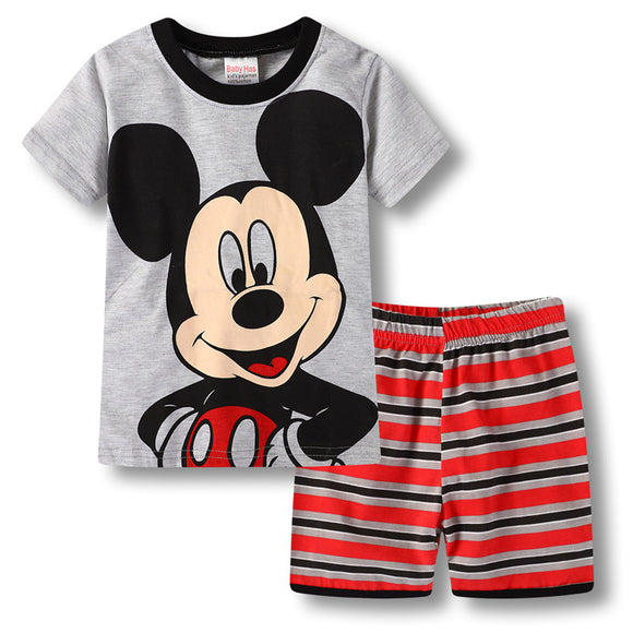 Boys Short PJ Set Mickey Mouse Pattern 100% cotton Summer Pajamas