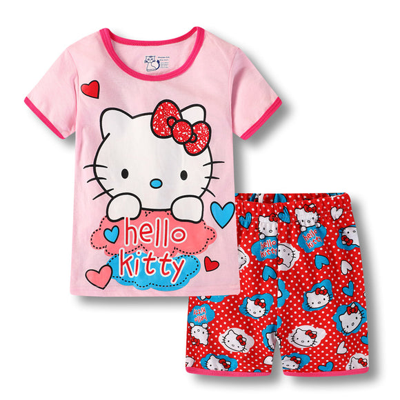 Girls Short PJ Set Hello Kitty Pattern 100% Cotton Summer Pajamas