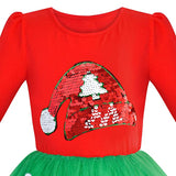 Girls Dress Christmas Santa Long Sleeve Party Dress