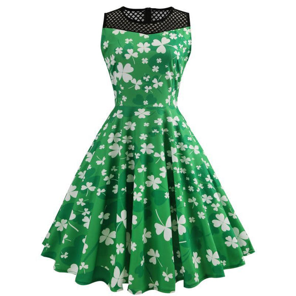 Green Lucky Shamrock Dress Sleeveless Lace Patchwork Dress ST. Patrick's Day Costume