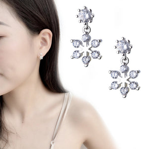Women Snowflake Earrings with Cubic Zirconia Jewelry