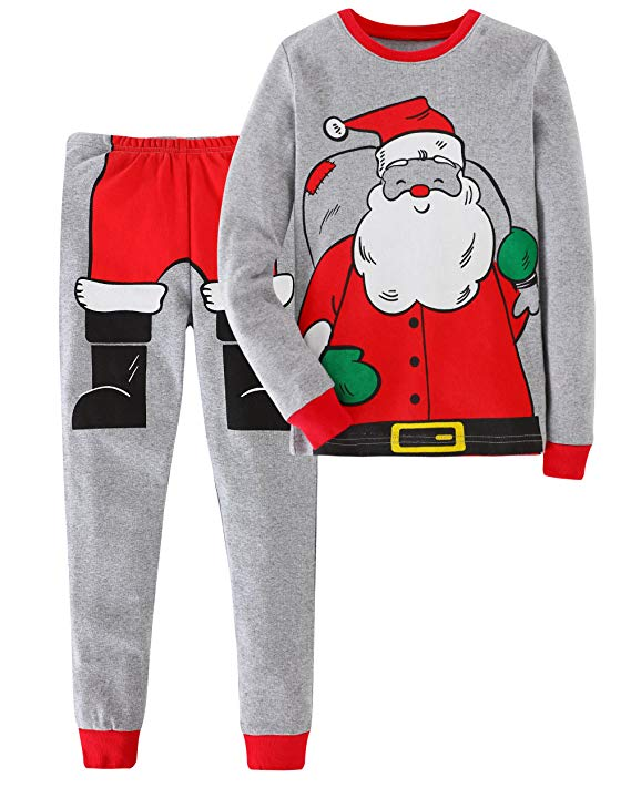 2 Piece Kids Santa Snug Fit Christmas Cotton Pajamas Set – Fansholiday 4ad6915b1