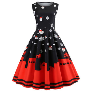 Christmas Costume Dress Women Vintage Sleeveless Dress