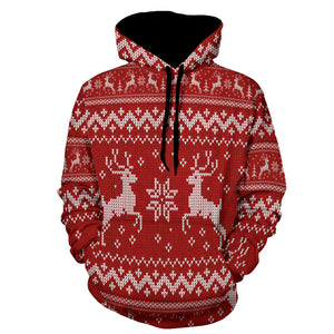 Adult Christmas Elk Snowflake Print Casual Hoodies