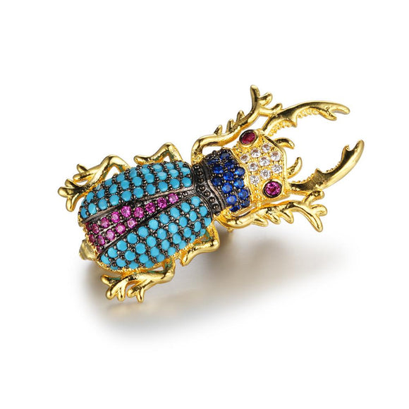 Rhinestone Beetle Insect Brooches For Women Large Beetle Pins Vintage Coat Accessories Gift