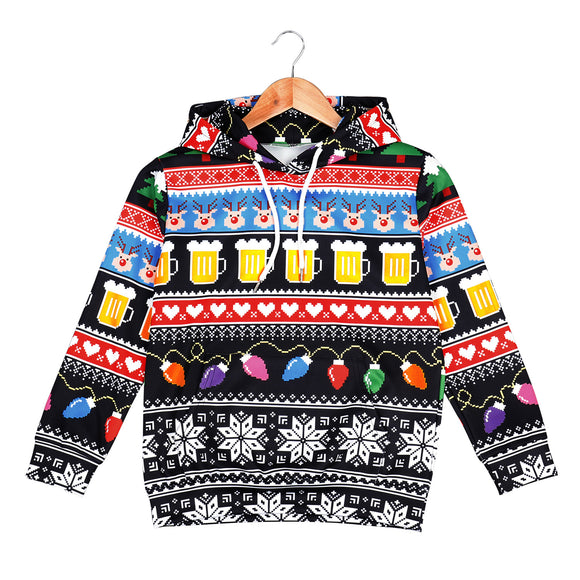 Kids 3D Digital Print Christmas Hoodies