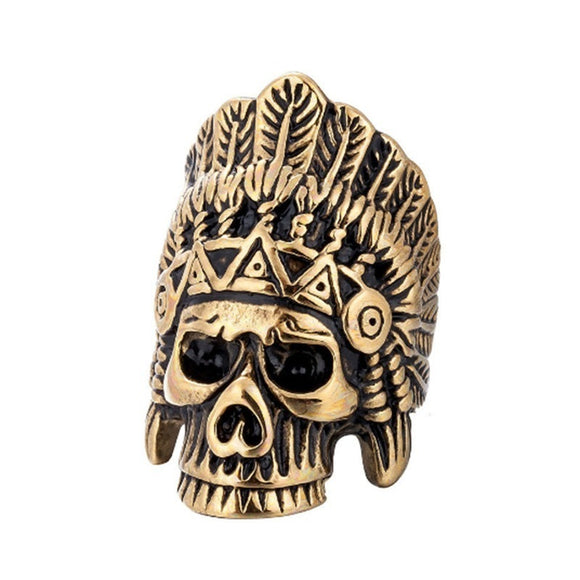 Halloween Indian Chiefs Headdress Skull Ring Jewelry Stainless Steel Hip Hop Biker Ring