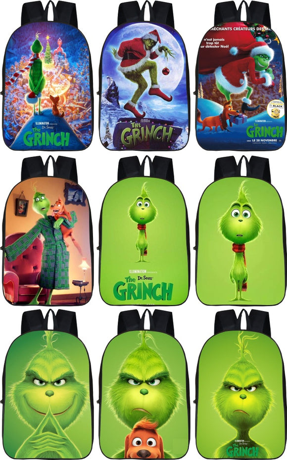 The Grinch Stole-Christmas Backpack Cartoon Style Comfortable Design for Kids
