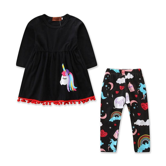 Unicorn Pattern Pj set For Little Girls Toddler Kids 3-7 years old