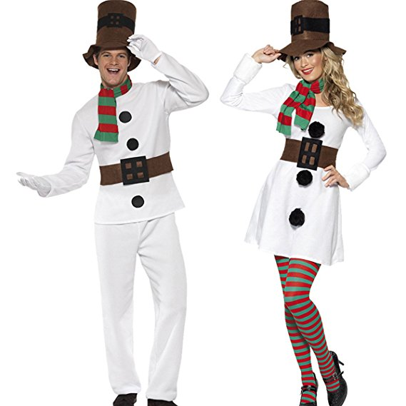 Christmas Snowman Costume For Men And Women Couples Christmas Cosplay Costume