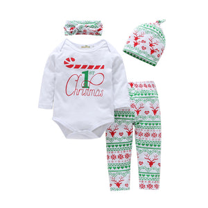 4PCS Christmas Baby Boys Girls Outfit Long Sleeve Romper