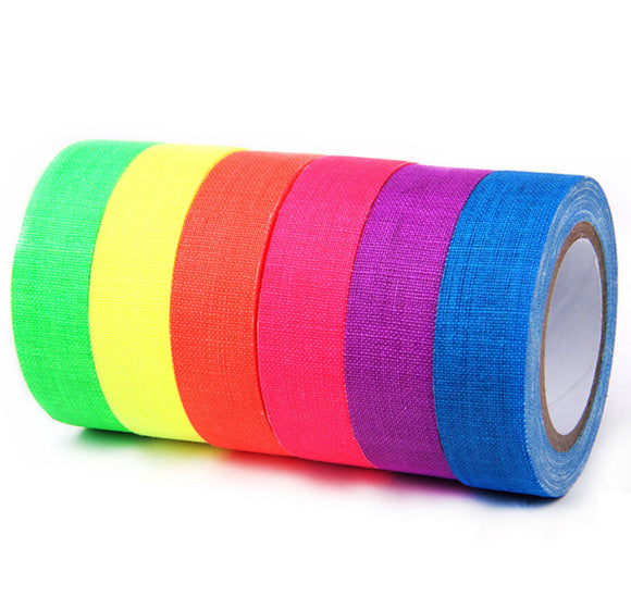 6-Pack UV Blacklight Reactive Fluorescent / Neon Gaffer Tape Decoration