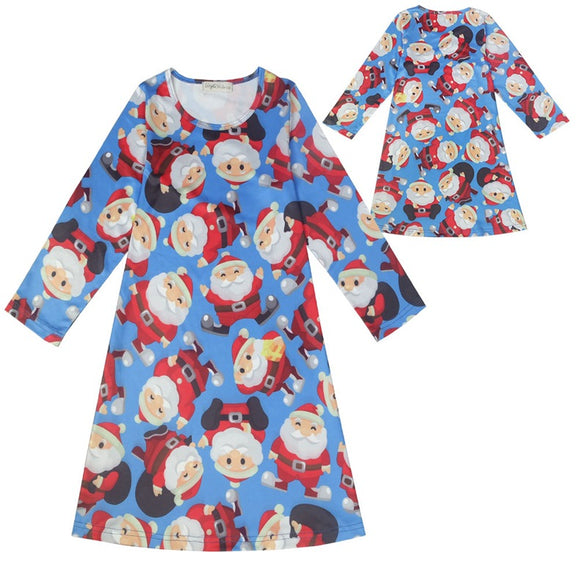 Girls Swing Dress Santa Print Long Sleeve Party Dresses