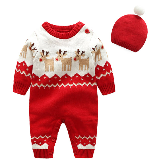 Newborn Baby Romper Christmas Clothes Knitted Sweaters