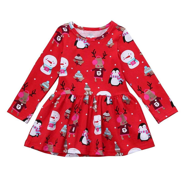 Girls' Princess Dress Christmas Long Sleeve Party Dress