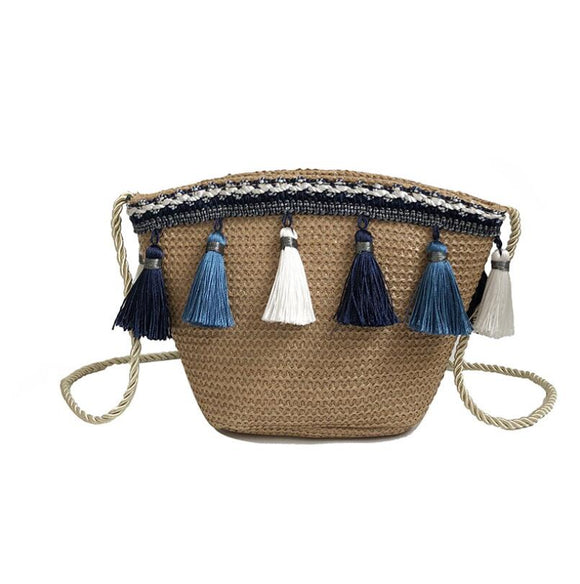 Vintage Women Weaving Tassel Shoulder Bag Messenger Bag Nationality Style Crossbody Bag Handbag