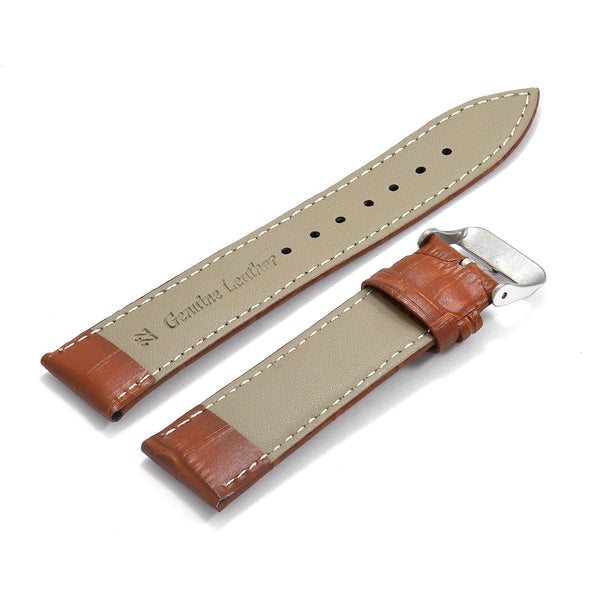 Leather Strap Croco Design Light Brown