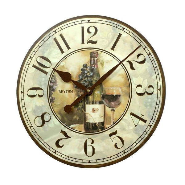 Rhythm Clock Brown Wooden Case Wall Clock RTCMG283NR06