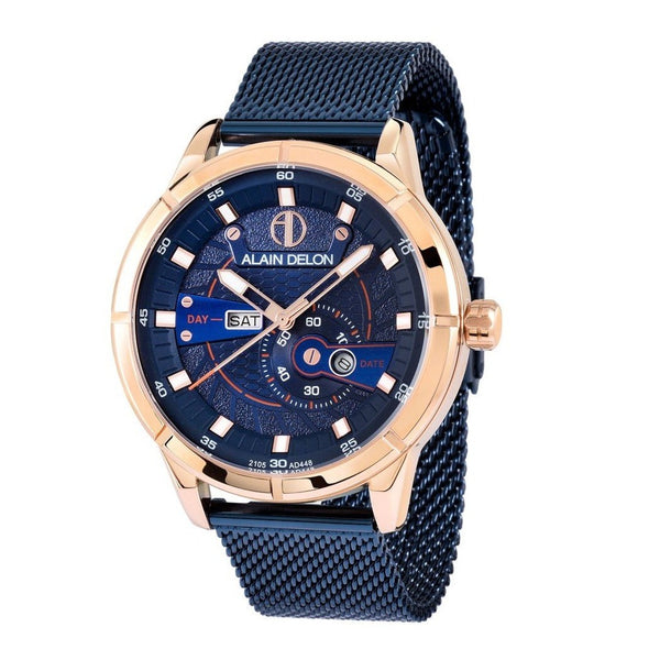 Alain Delon Men Multi Function Blue Mesh Band AD449-1585