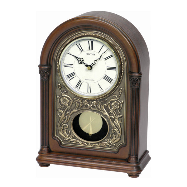 Rhythm Table Clock Wooden Sound In Place RTCRJ731NR06