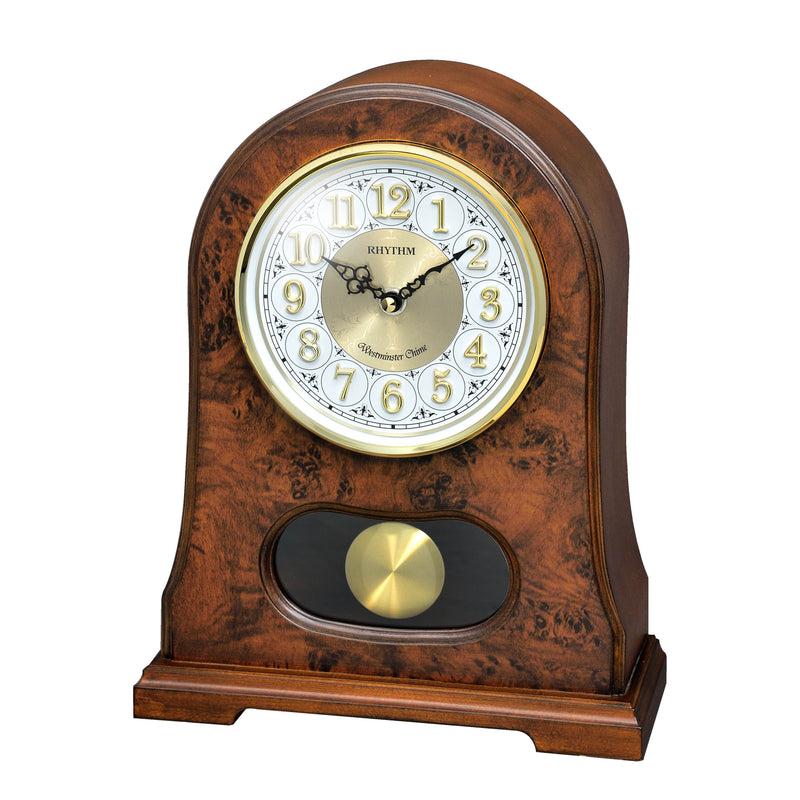 Rhythm Table Clock Wooden 3D Numerals RTCRJ753NR06