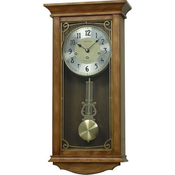 Rhythm Clock Brown Wooden Case Wall Clock RTCMJ555NR06