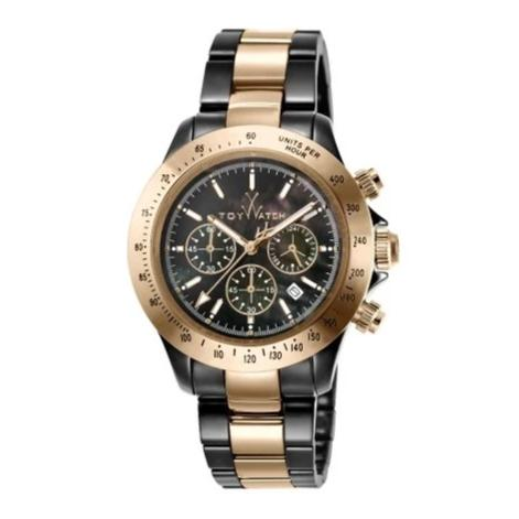 ToyWatch Chronograph Ceramic Men Watches Black & Pink Gold TYCHMC03BKPG