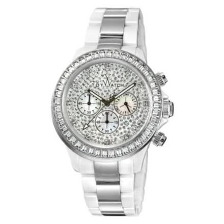 ToyWatch Chronograph Ceramic Ladies Watch White Silver TYCHMC05WHS