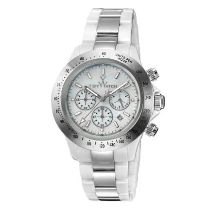 ToyWatch Chronograph Ceramic Ladies Watch White Silver TYCHMC06WHSL