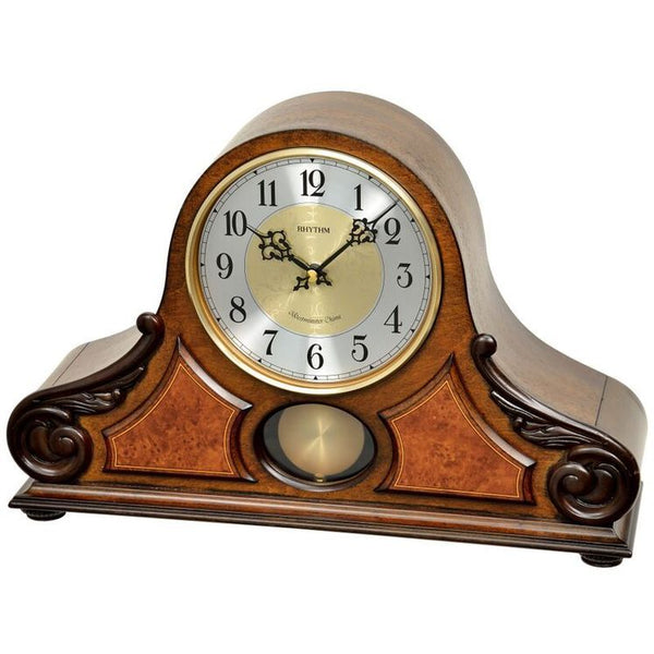 Rhythm Clock Brown Wooden Case Table Clock RTCRJ742BR06