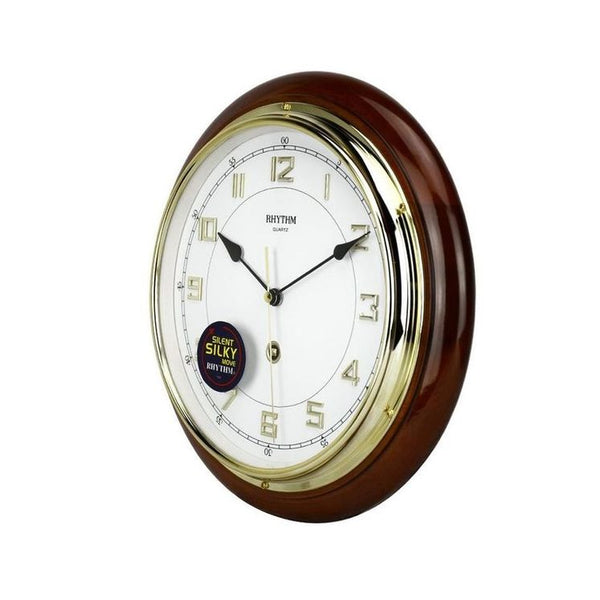Rhythm Clock Brown Wooden Case Wall Clock RTCMG931NR06