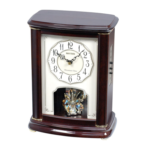 Rhythm Table Clock Wooden Piano Finish RTCRH212NR06