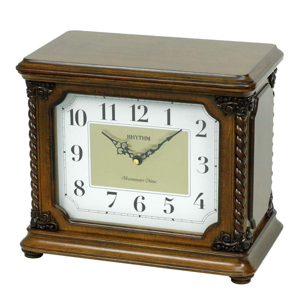 Rhythm Table Clock Wooden Jewelry Box RTCRH224NR06