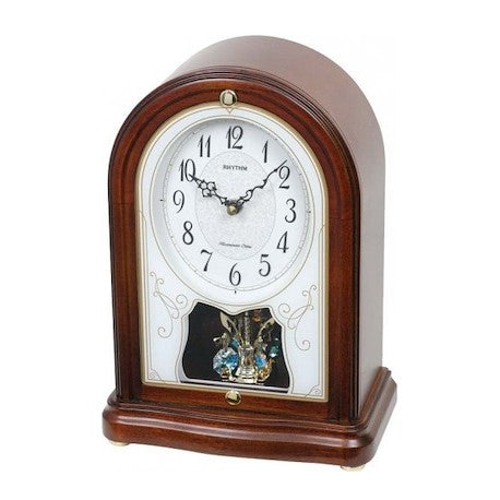Rhythm Clock Brown color wooden case Quartz Table Clock RTCRH225NR06