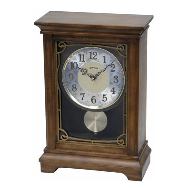 Rhythm Clock Brown color wooden case Quartz Table Clock RTCRJ739NR06