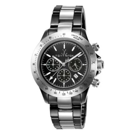 TOYWATCH CHRONOGRAPH CERAMIC MEN WATCHES BLACK & SILVER TYCHMC02BKSL