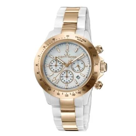 ToyWatch Chronograph Ceramic Ladies Watch White Pink Gold TYCHMC07WHPG