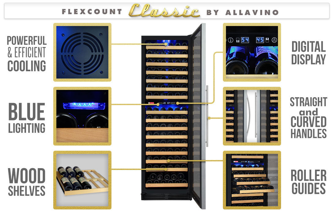 Allavino FlexCount Classic 172 Bottle Left Hinge Stainless Steel Door Wine Fridge YHWR172-2SWLN