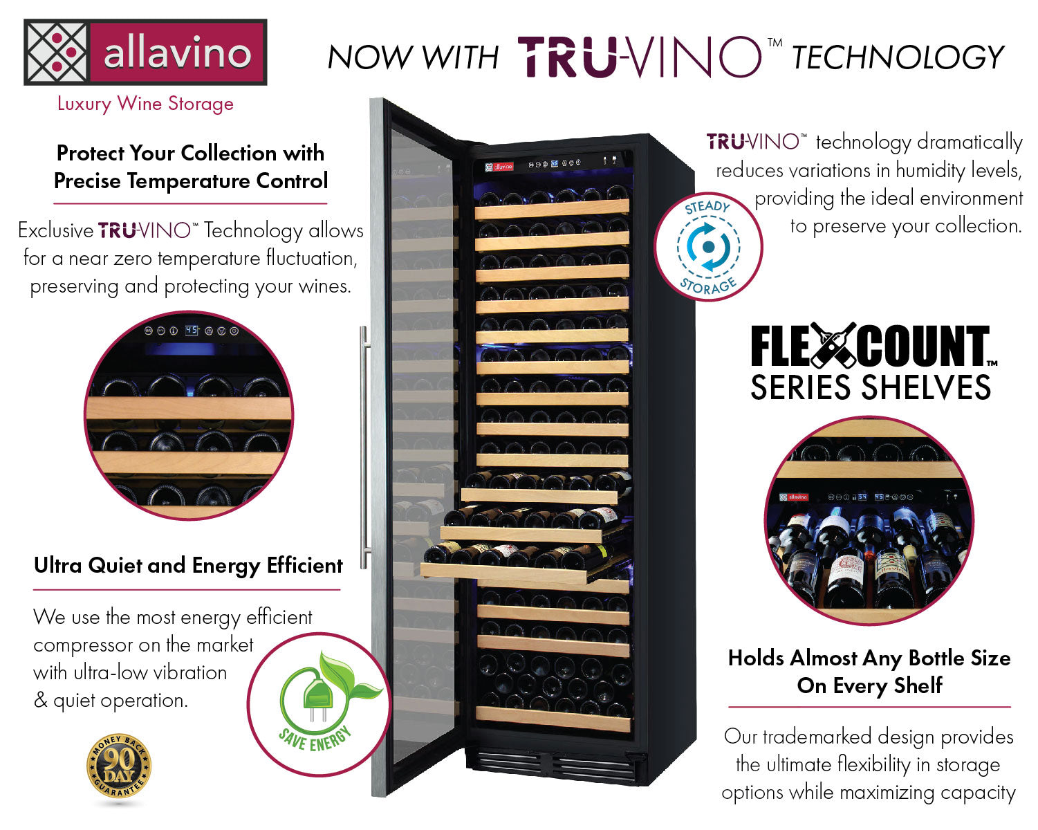 Allavino FlexCount Classic II Tru-Vino 174 Bottle Single Zone Stainless Steel Left Hinge Wine Fridge YHWR174-1SL20