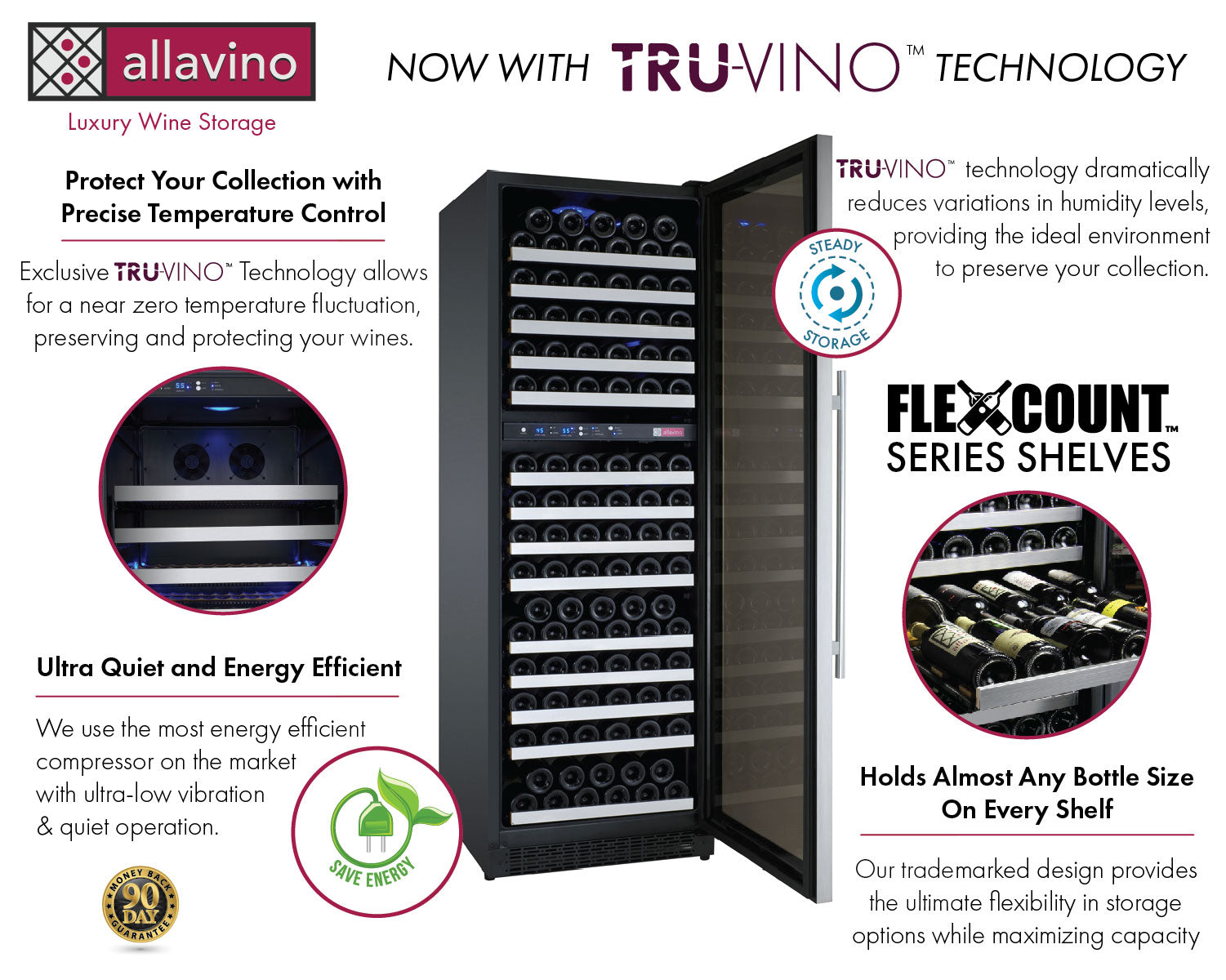 Allavino FlexCount Classic II Tru-Vino 172 Bottle Dual Zone Stainless Steel Right Hinge Wine Refrigerator YHWR172-2SR20