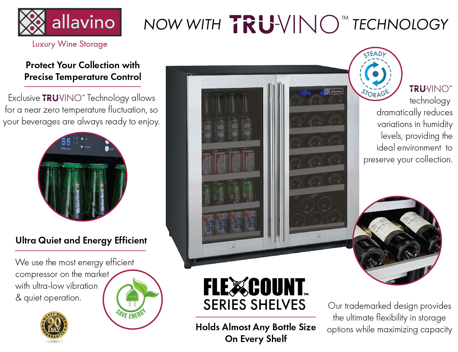 Allavino FlexCount II Tru-Vino 30 Bottle/88 Can Dual Zone Stainless Steel Beverage/Wine Fridge VSWB30-2SF20
