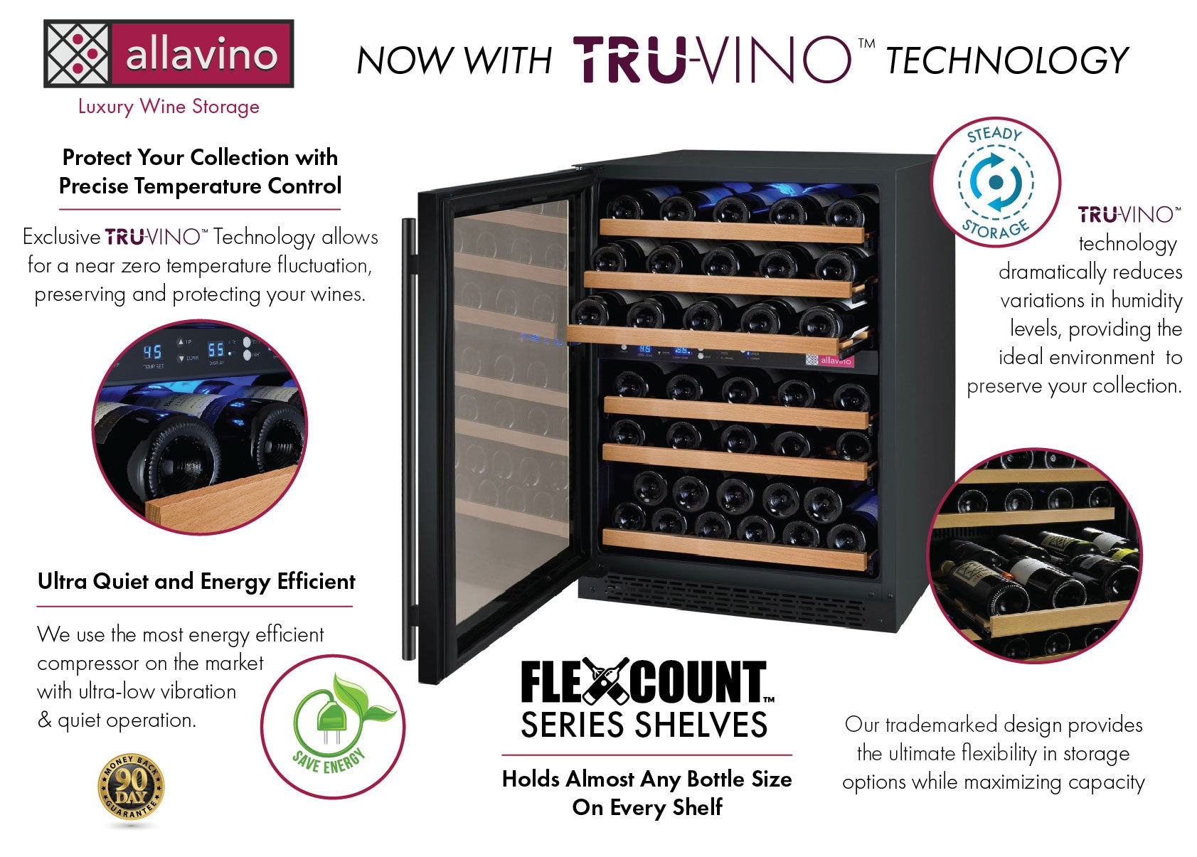 Allavino FlexCount II Tru-Vino 56 Bottle Dual Zone Black Left Hinge Wine Fridge VSWR56-2BL20