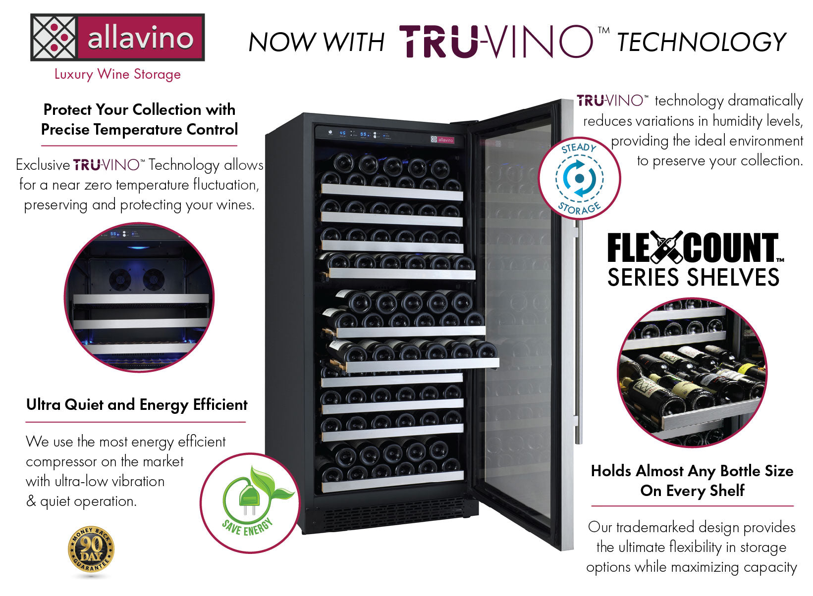 Allavino FlexCount II Tru-Vino 256 Bottle Dual Zone Stainless Steel Wine Fridge 2X-VSWR128-1S20