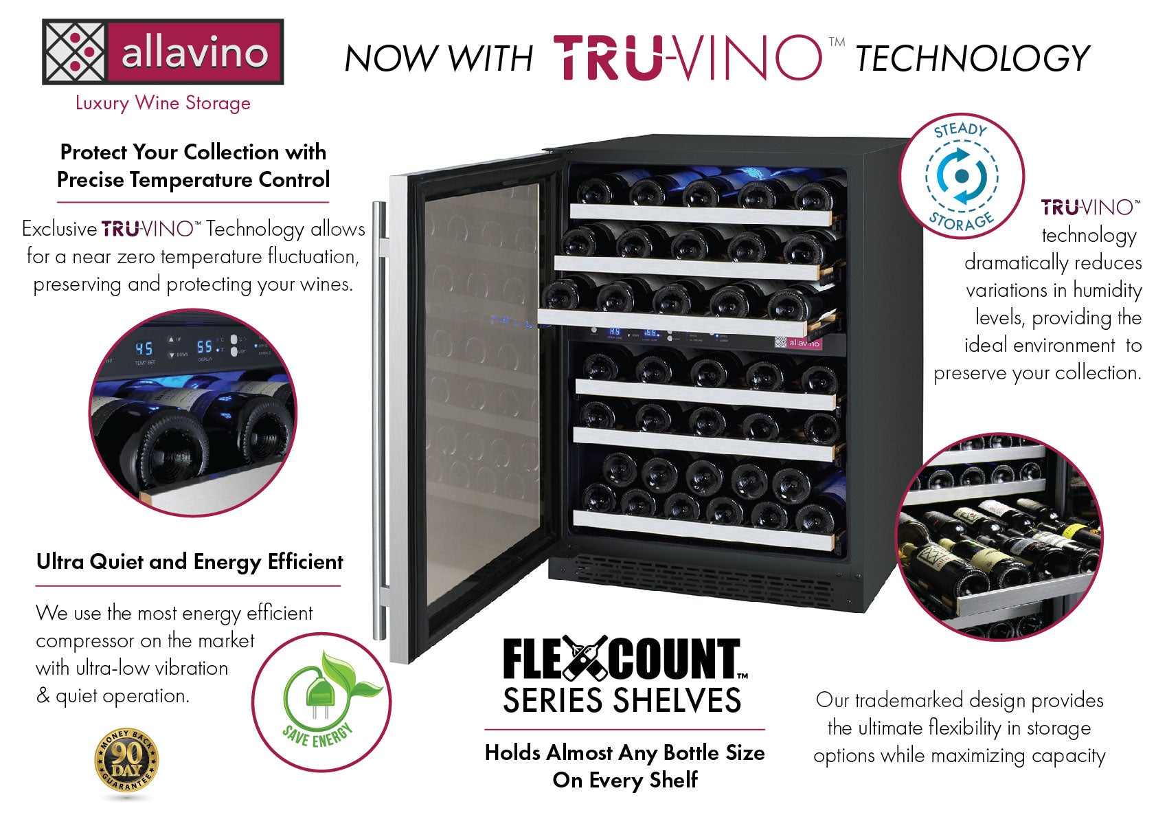 Allavino FlexCount II Tru-Vino 56 Bottle Dual Zone Stainless Steel Left Hinge Wine Fridge VSWR56-2SL20