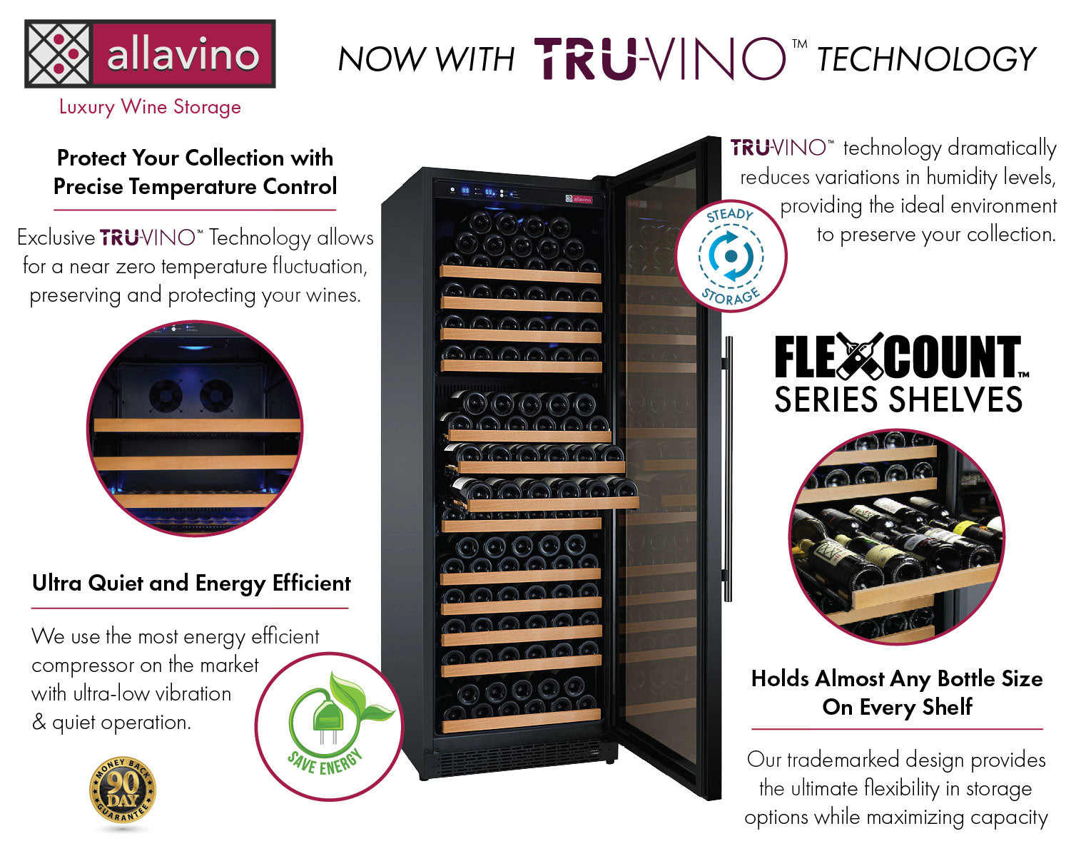 Allavino FlexCount II Tru-Vino 354 Bottle Dual Zone Black Wine Fridge 2X-VSWR177-1B20