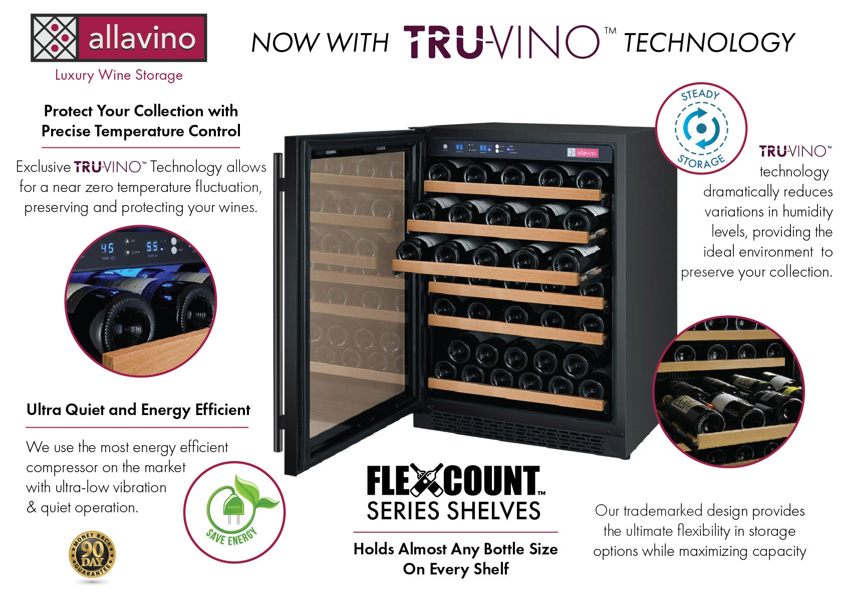 Allavino FlexCount II Tru-Vino 56 Bottle Single Zone Black Left Hinge Wine Fridge VSWR56-1BL20