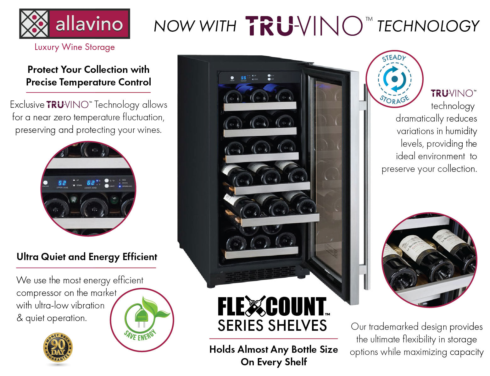 Allavino FlexCount II Tru-Vino 30 Bottle Single Zone Stainless Steel Left Hinge Wine Fridge VSWR30-1SL20
