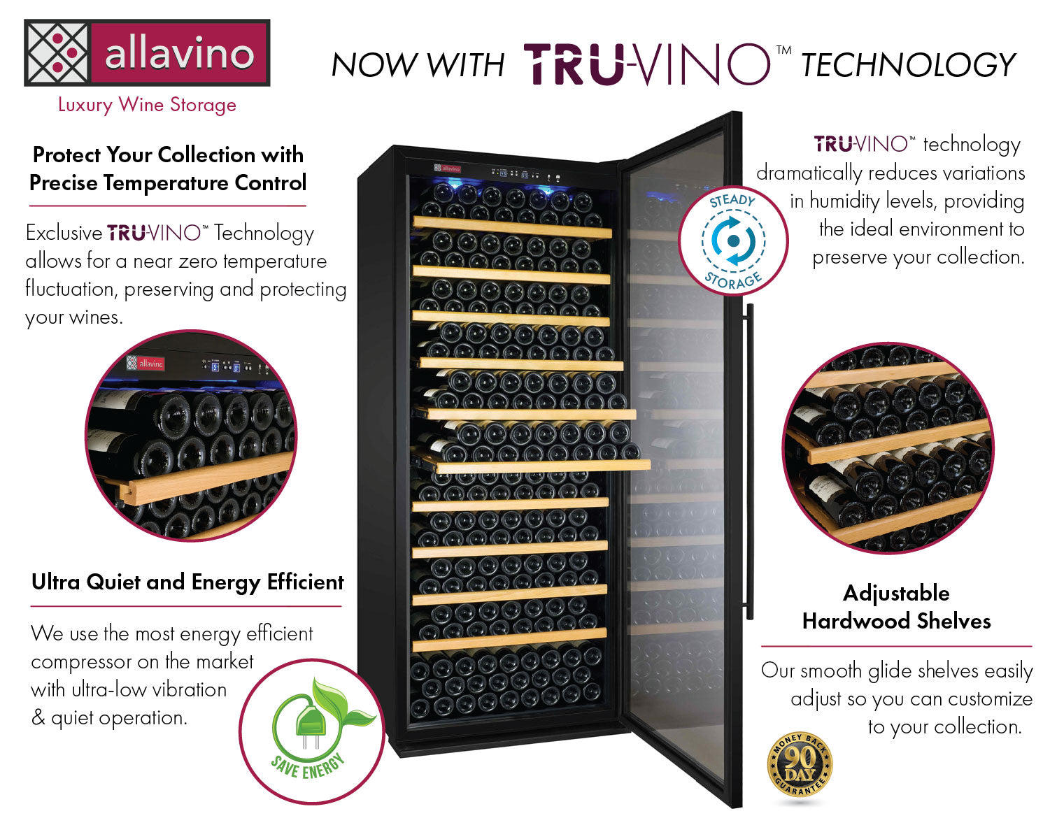 Allavino Vite II Tru-Vino 554 Bottle Dual Zone Black Wine Fridge 2X-YHWR305-1B20