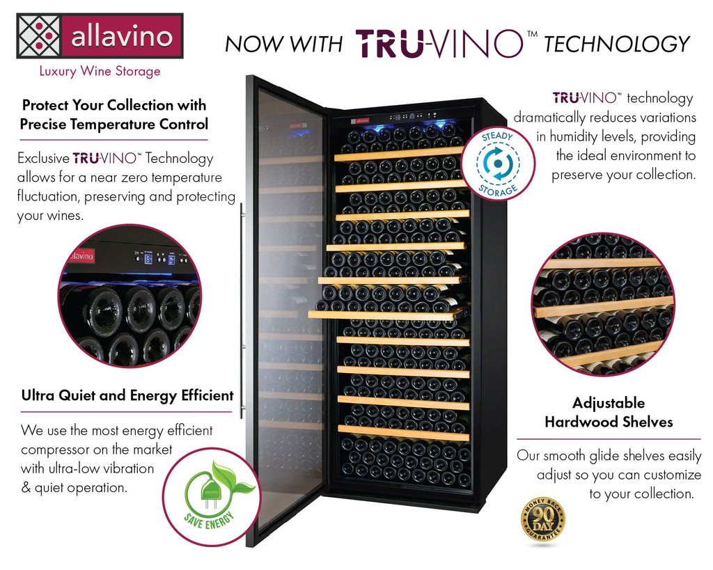 Allavino Vite II Tru-Vino 277 Bottle Single Zone Stainless Steel Right Hinge Wine Fridge YHWR305-1SR20